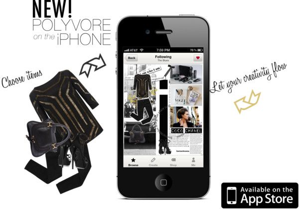 """""""Design an Ad for the Polyvore iPhone App"""" by naturally-jolie ❤ liked on Polyvore"""