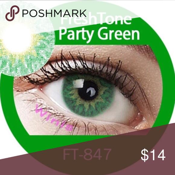 Contact Lenses Party Green Freshtone Free Case Ship Daily 1 Pair 13 Brand Freshtone No Prescr Contact Lenses Colored Colored Contacts Contact Lenses
