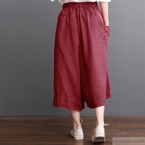 Linen Pants Summer Red Wide Leg Pants Crop Trousersthis Dress Is