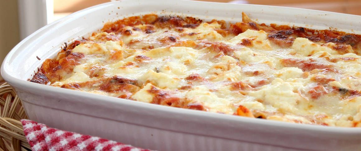 Our five-ingredient Italian baked pasta is super easy to make and includes layers of your choice of pasta, three cheeses and marinara sauce.