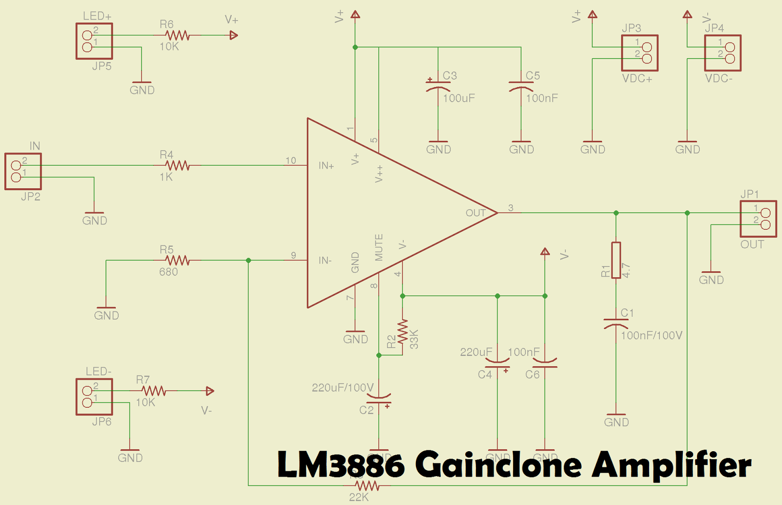 Lm3886 Amplifier Circuit Electronics Pinterest Audio 20w Electronic Schematic Wiring Diagram Gainclone Circuits Simple Consumer