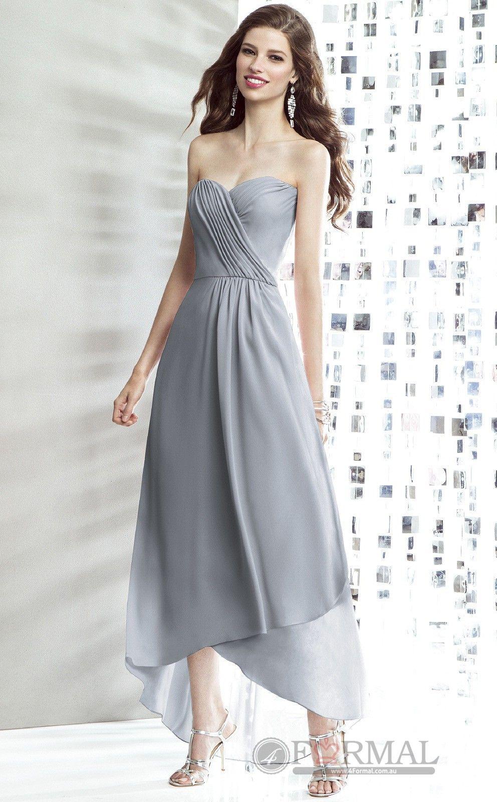 Cute chiffon grey long formal prom dresslong sweetheart strapless