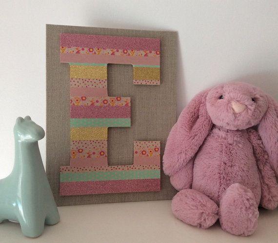 Monogram 3D Letter E Nursery Decor Baby Girl by coralandcobalt