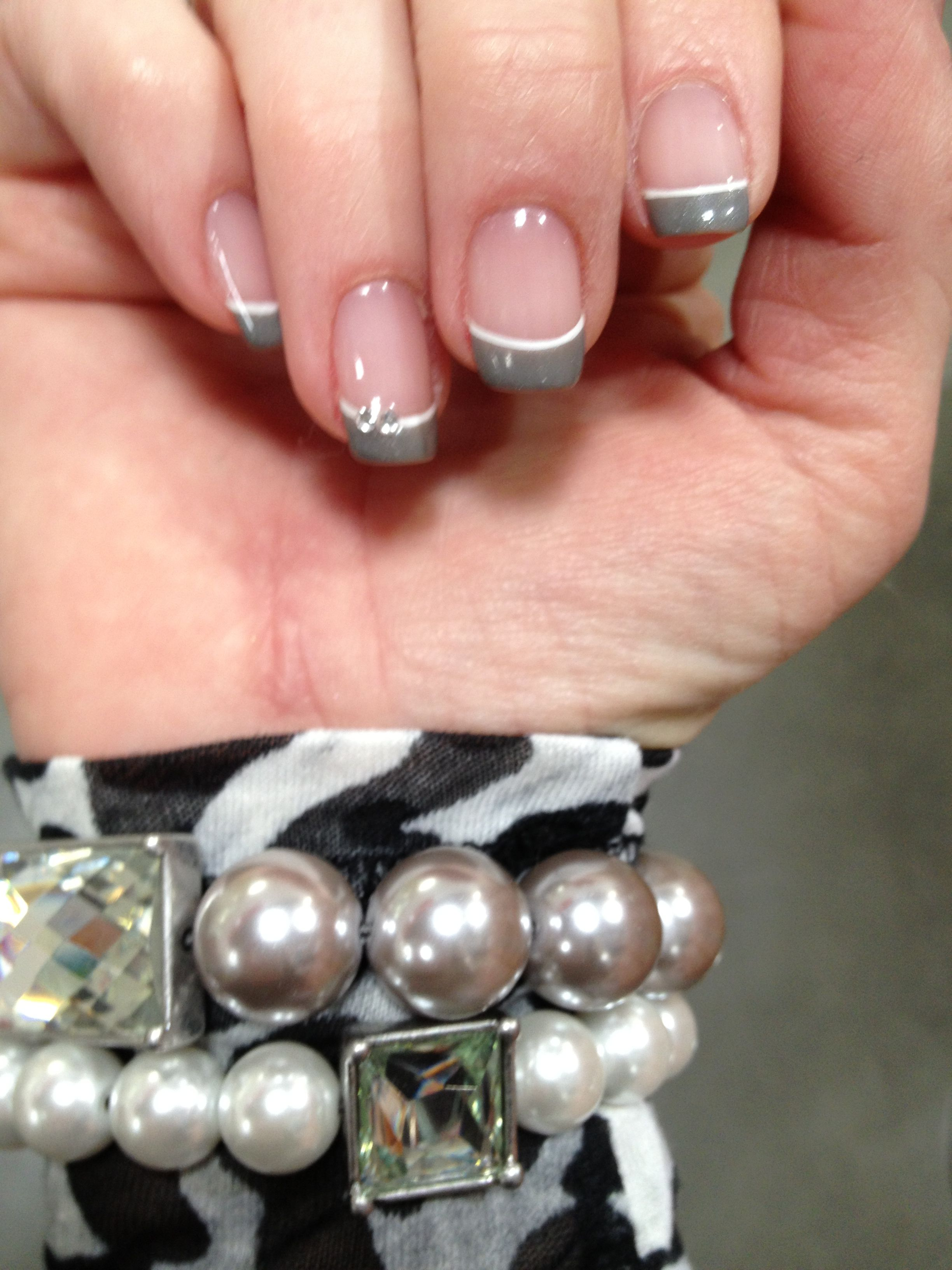 Nails Grey French Manicure With Images Grey Nail Designs