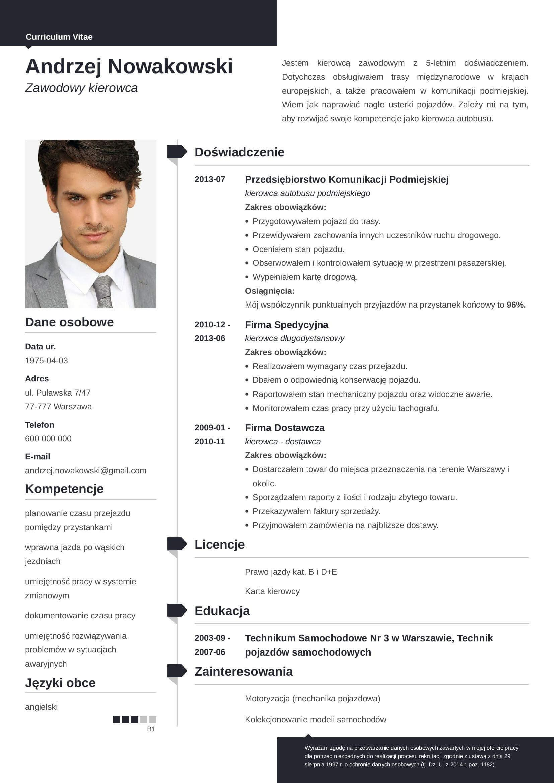 Przykladowe Cv Kierowca Curriculum Vitae Curriculum List