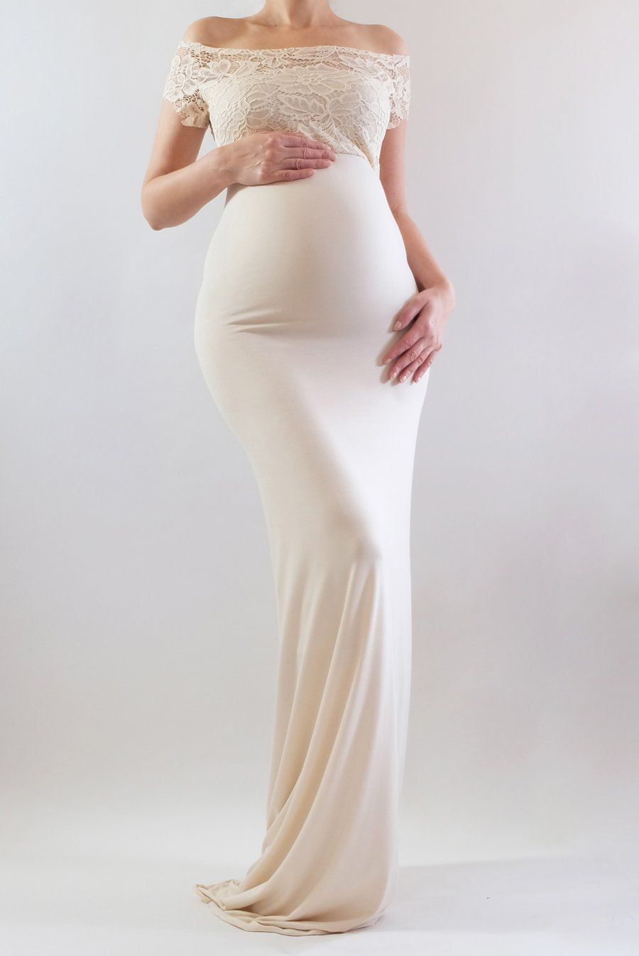 1a2c122e82bed AVIVA - This lovely fitted lace maternity gown is perfect as a lace wedding  dress, a maternity wedding guest dress, or baby shower dress!