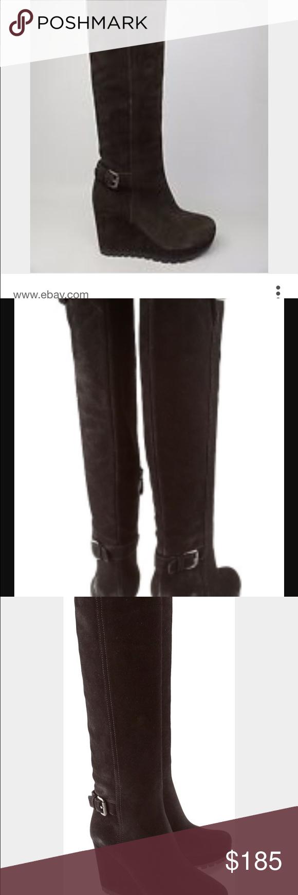 cc941da5e42 Prada black suede knee length wedge boots. Size 39 Prada Boots. Worn only a  few times. Black suede. Knee length. Buckle detailing. Wedge heal with  platform.