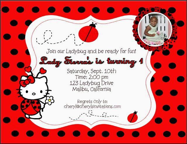 Ladybug hello kitty birthday invitation card celebrations ladybug hello kitty birthday invitation card stopboris Image collections