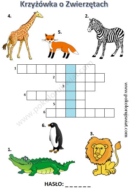 Krzyżówka o zwierzętach dla dzieci do wydruku (With images ...