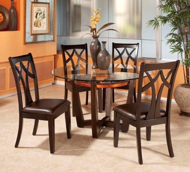 Good Round Glass Top Dining Table Set W 4 Wood Back Side Chairs : Appealing Round  Glass