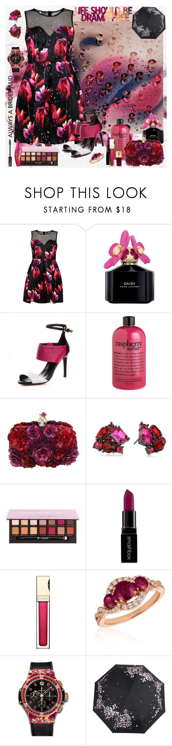 """""""Drama free"""" by julyralewis ❤ liked on Polyvore featuring Boohoo, Marc Jacobs, philosophy, Alexander McQueen, Betsey Johnson, Anastasia Beverly Hills, Smashbox, Clarins, LE VIAN and Hublot"""
