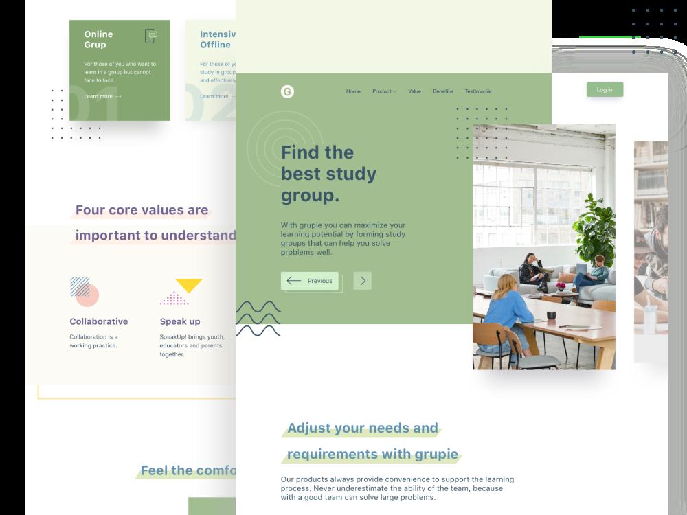 Groupie Study Club Landing Page Creative Website Design Website Design Inspiration Web Inspiration