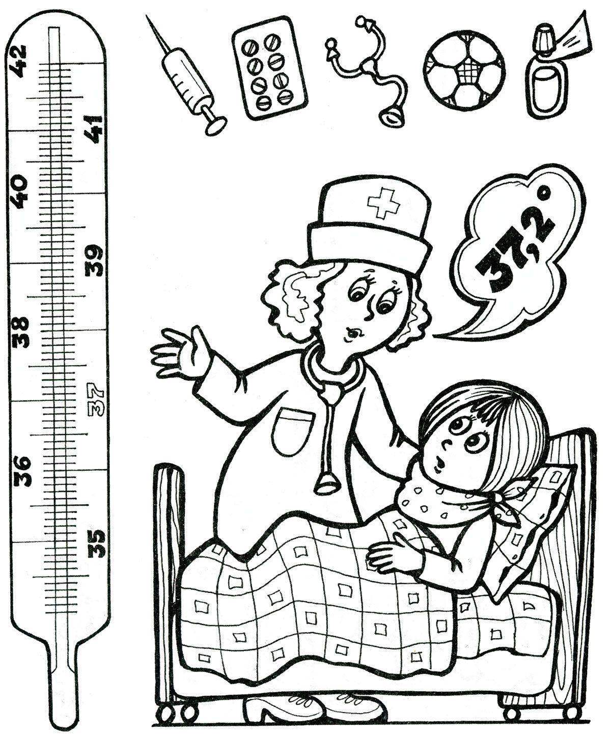 ziek zijn, kleur de thermometer in tot 37,2 graden