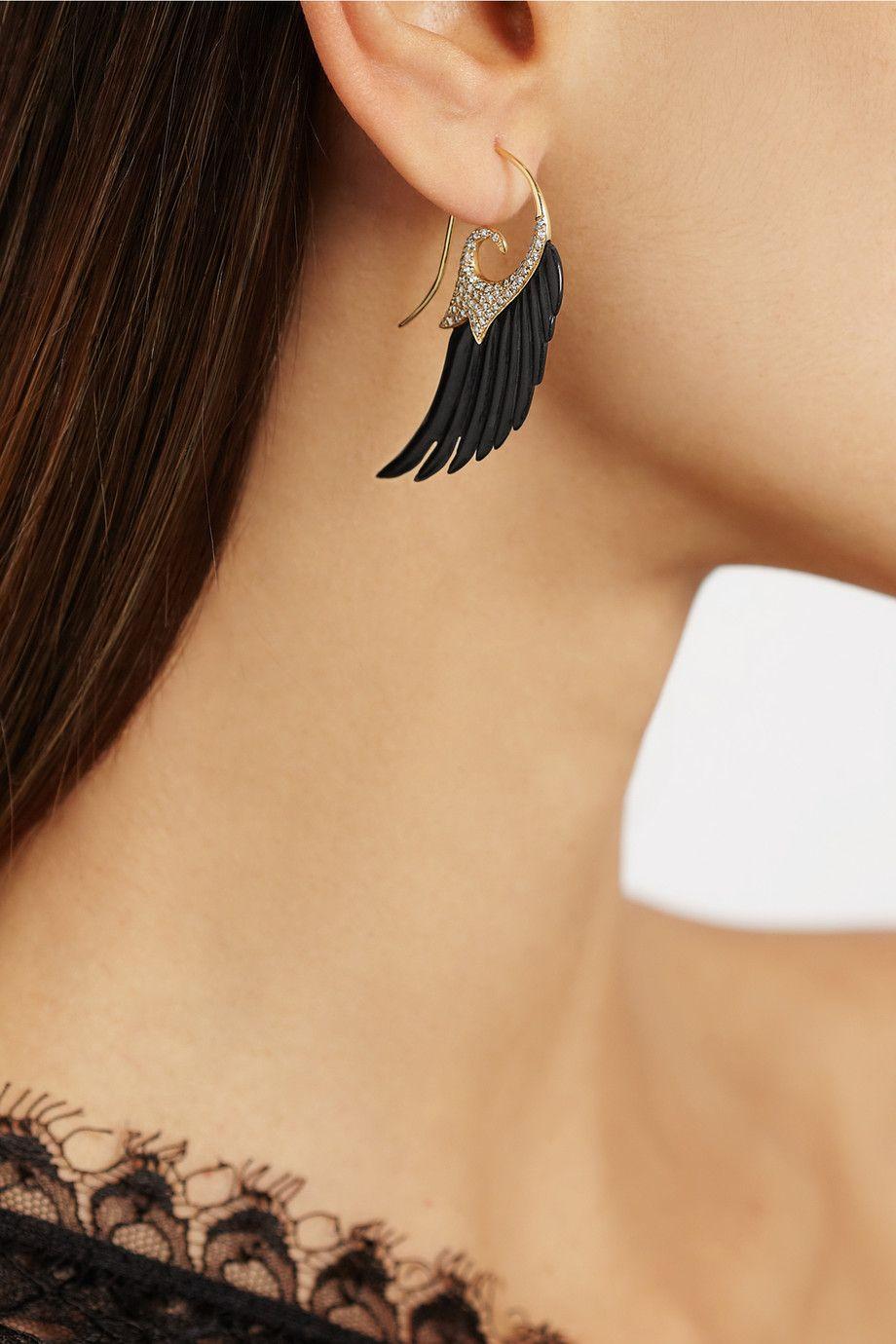 Noor Fares Wing 18-karat gold, ebony and diamond earrings NET-A-PORTER.COM