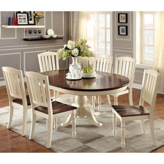 Charming Furniture Of America Bethannie Cottage Style 2 Tone Oval Dining Table