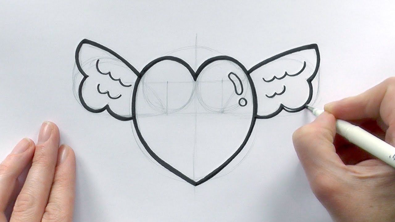 How to Draw a Cartoon Love Heart With Wings For Valentine ...
