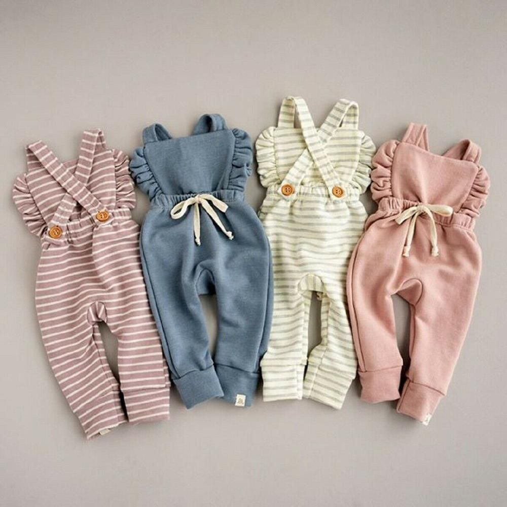 Baby Girl Backless Striped Ruffle Romper Overalls Jumpsuit #baby