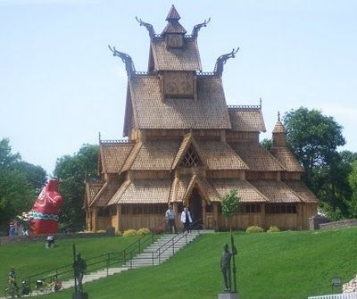 The beautiful Norwegian Stave Church in Minot, ND.  Notice the Swedish Dala horse in the lower left corner.