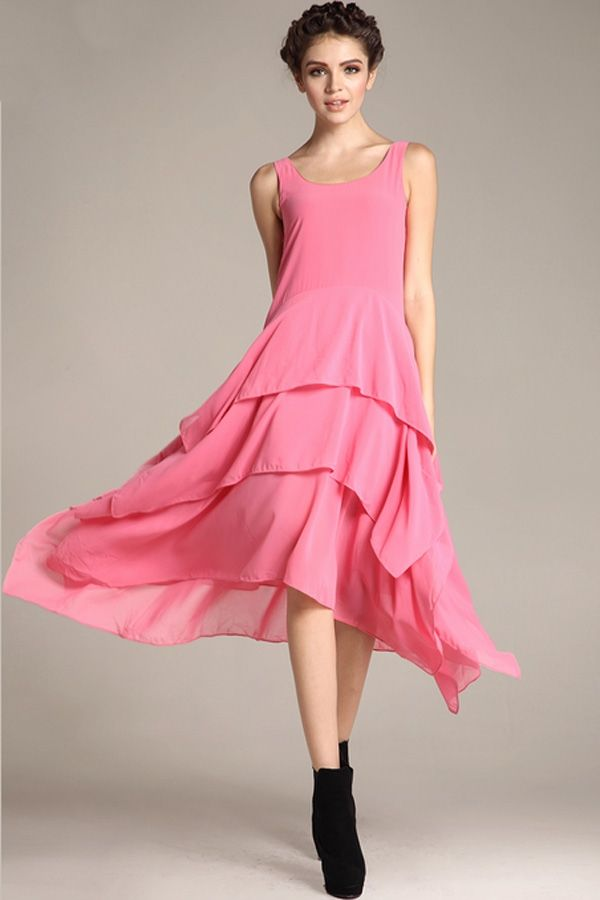 Irregular Hem Chiffon Dress