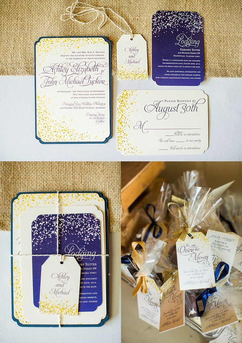 Navy And Cream Starry Night Wedding Invitations Shopsaltandpaperie