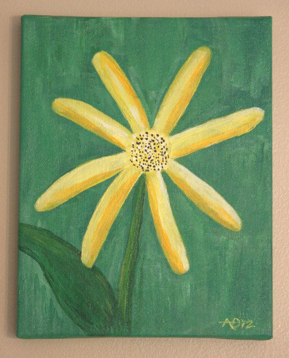 Original Acrylic Painting Whimsical Yellow Daisy by AnnesArtShoppe, $35.00