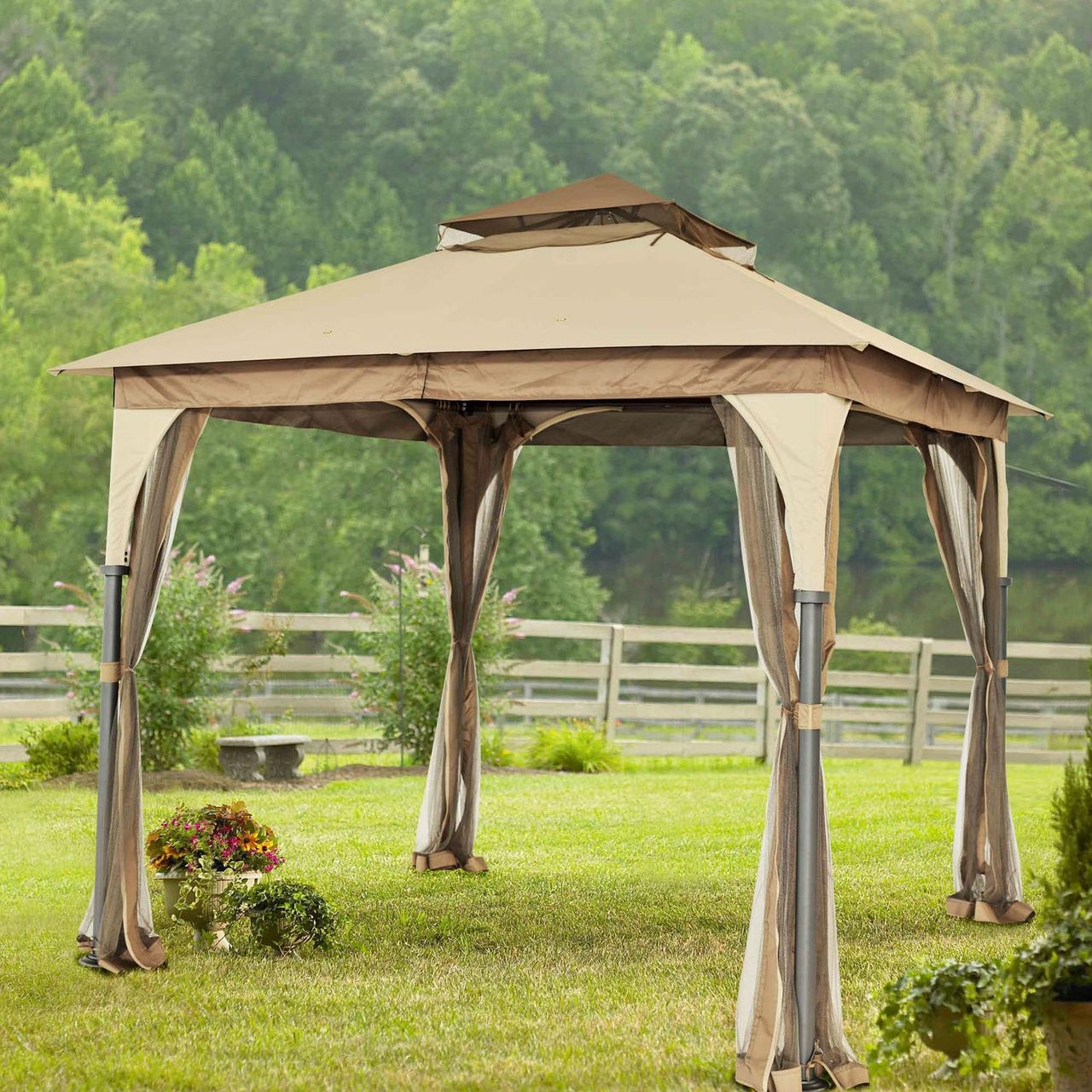 8 Ft X 8 Ft Steel Frame Gazebo W/Beige Brown Canopy And