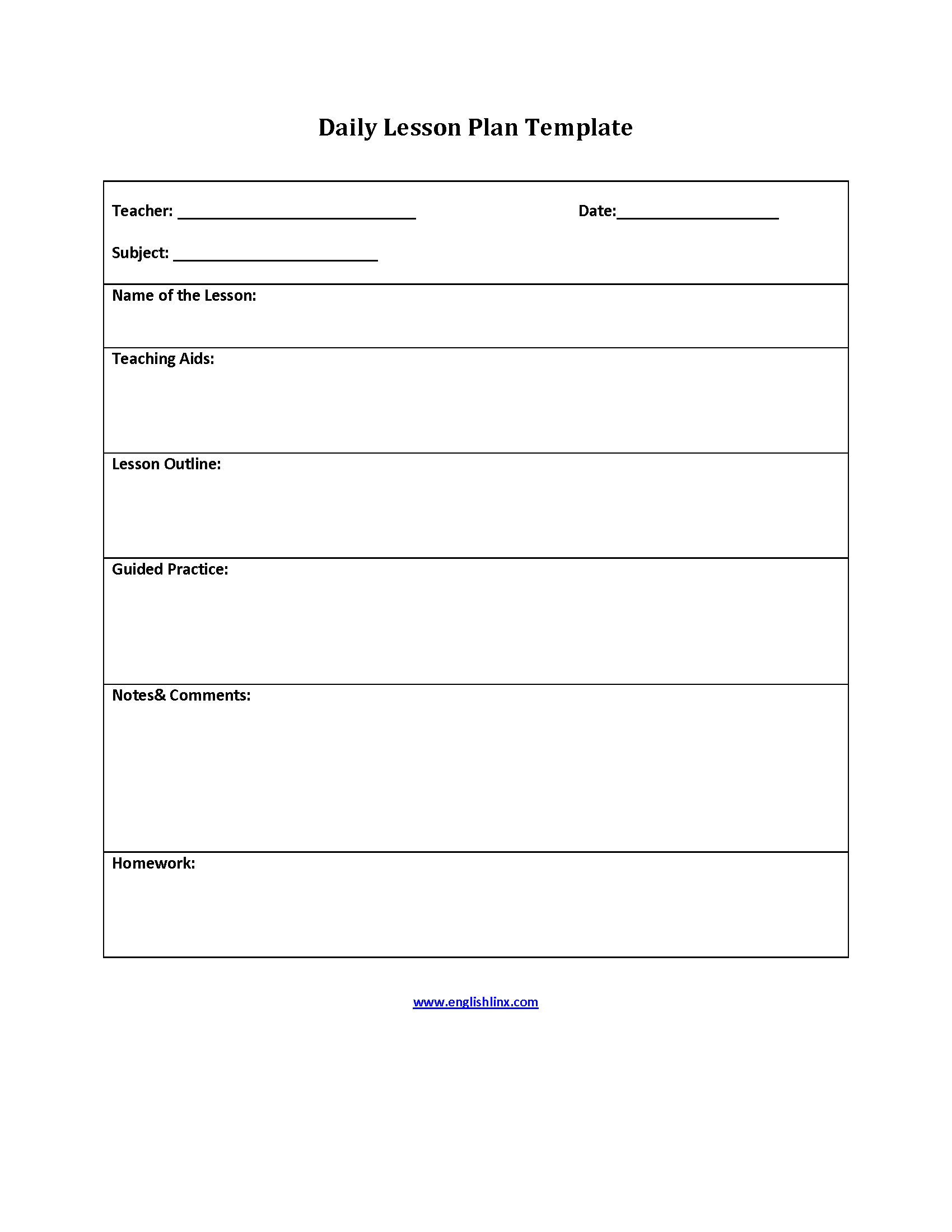 Teaching Aids Lesson Plan Template  Interactive Grammar Book