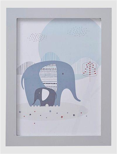 Elefanten-Wandbild für Kinderzimmer WEIß/BLAU | Kinder- / Babyzimmer ...