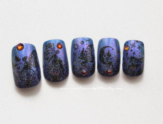 Magical Fairy. Glitter, Fairy Fake False Nails, Mystical Fake Nail, Faerie Press On Nails, Cute Nail Art, Kawaii Japanese Nail Art