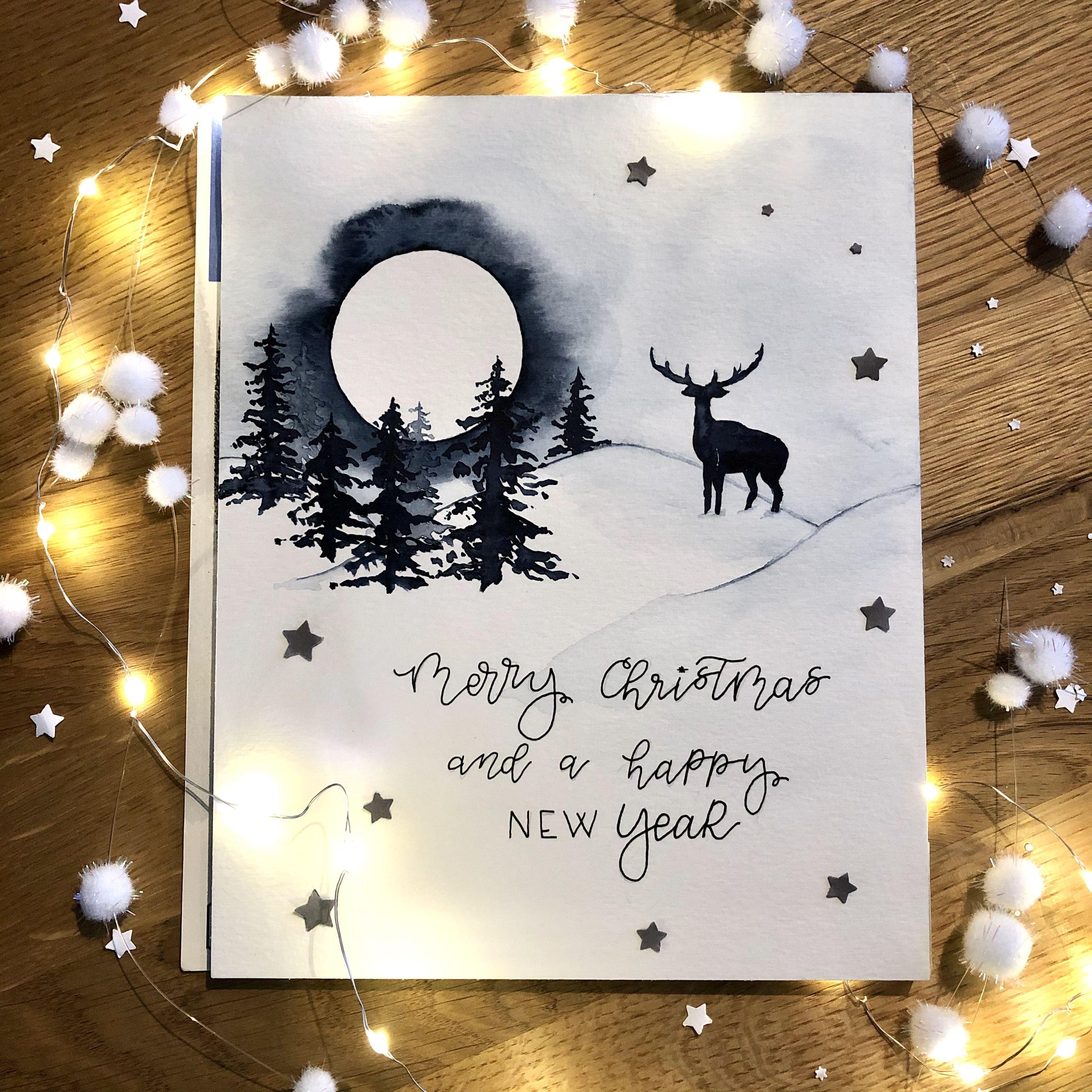 Aquarell Xmascards Xmas Weihnachten Weihnachtskarten