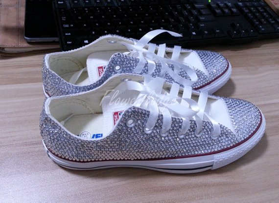White Flower Girl Shoes bling converse sparkle silver