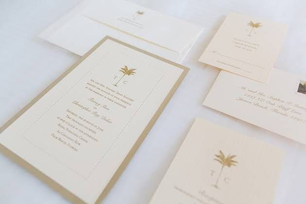 A Classic Wedding In Palm Beach Florida With Pops Of Pink Palm Wedding Invitation Palm Tree Wedding Invitations Palm Beach Wedding