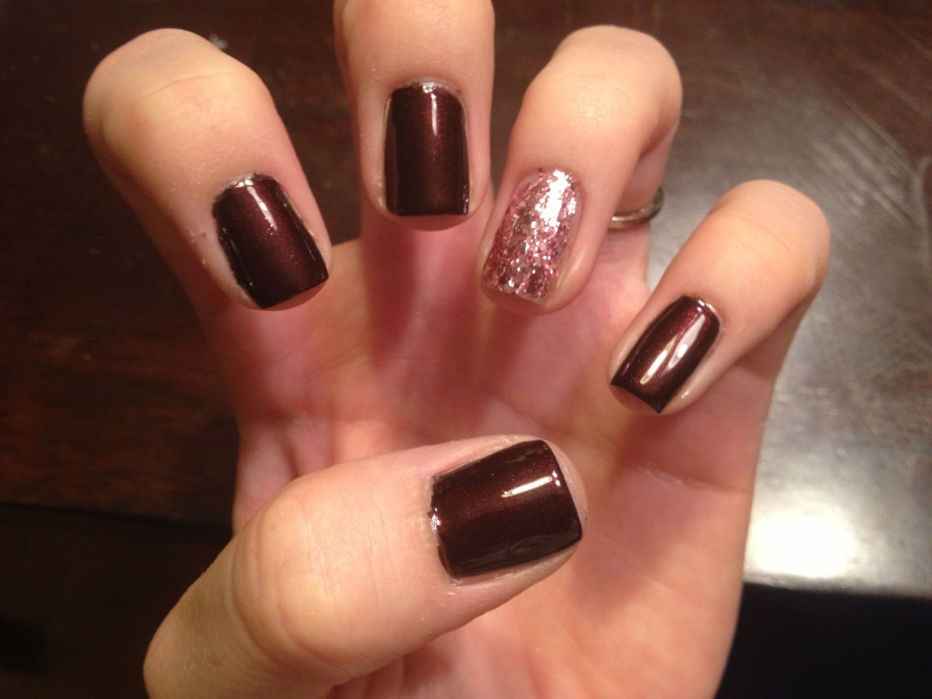 Dark red-brown with pink glitter accent :) | Makeup and Nails ...