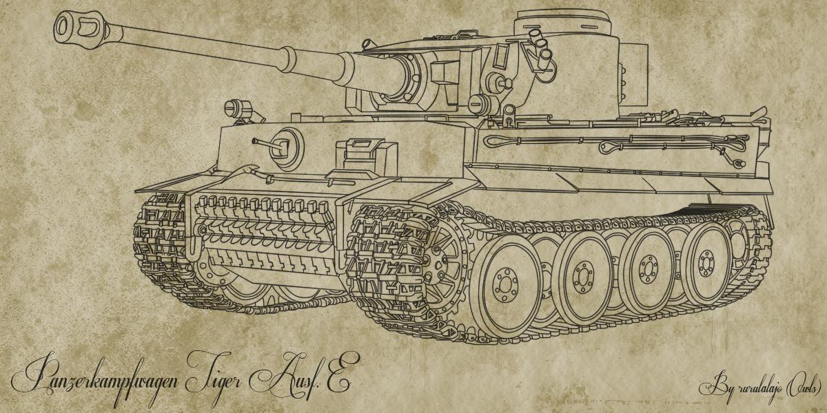 картинки танк тигр карандашом она живет