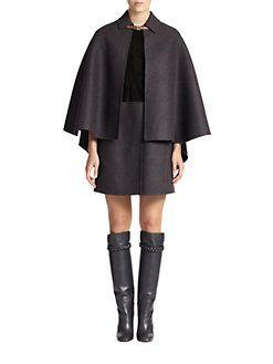 Valentino - Suede & Felt Cape Dress