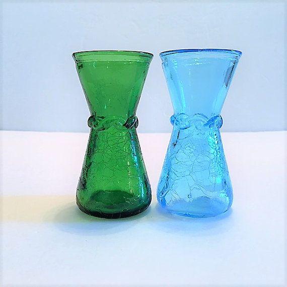 Vintage Blenko Crackle Art Glass Vases Blue And Green Mid Century
