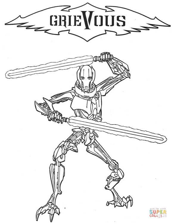 General Grievous Super Coloring Coloring Pages Coloring Books