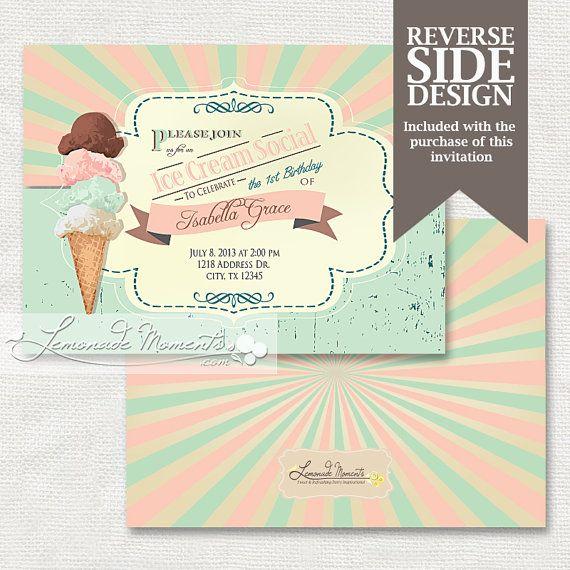 Ice Cream Invitation, Baby Shower Party Invitation, Ice Cream Sundae