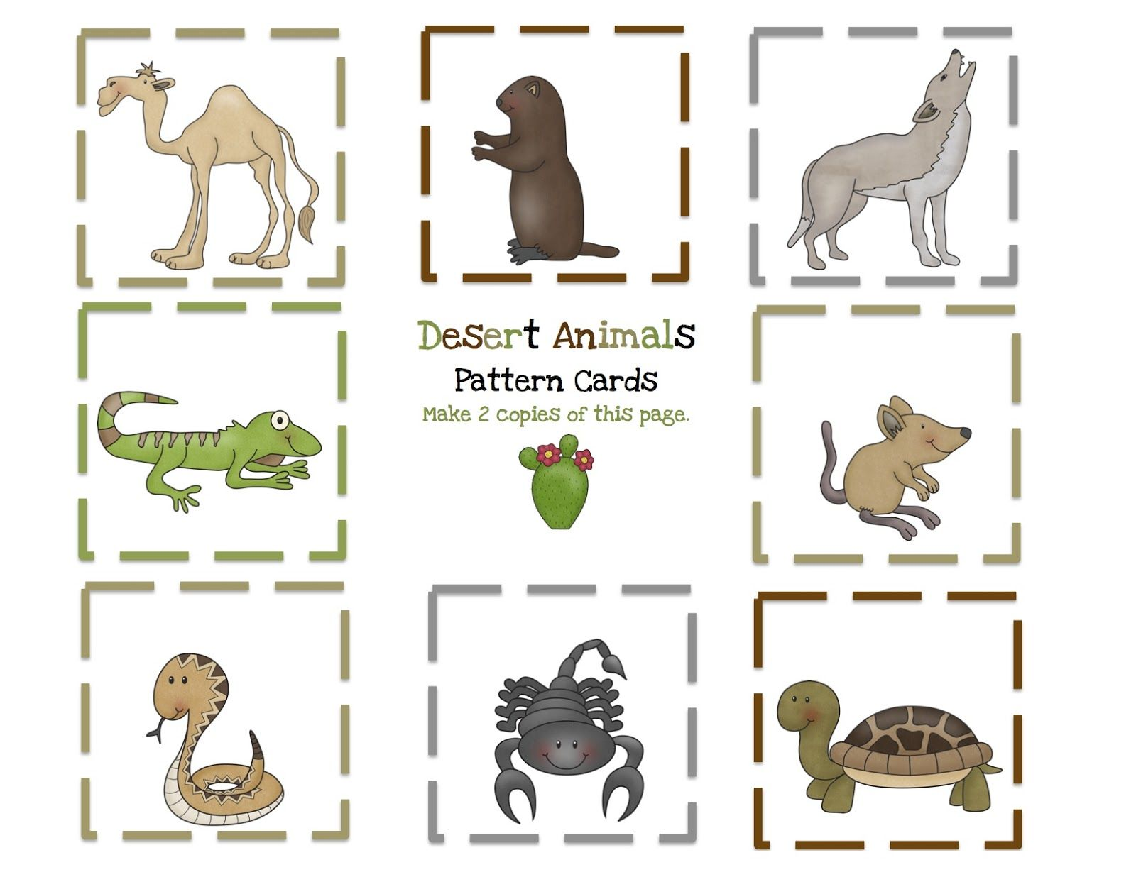 Desert 9 Pattern Cards Jpg 1600 1236 Desert Animals Desert Animals Printable Animal Printables