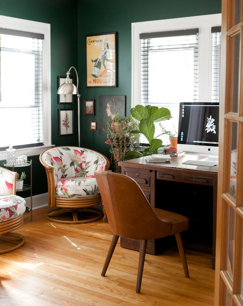 Green Black Office Walls Green Home Offices Home Office Design