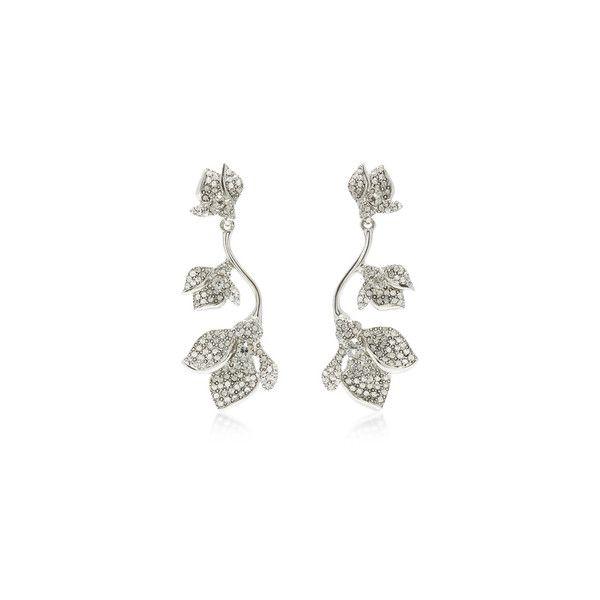 Oscar de la Renta Black Diamond Gradient crystal flower earring ($390) ❤ liked on Polyvore featuring jewelry, earrings, earring jewelry, flower jewellery, oscar de la renta earrings, oscar de la renta and crystal stone jewelry