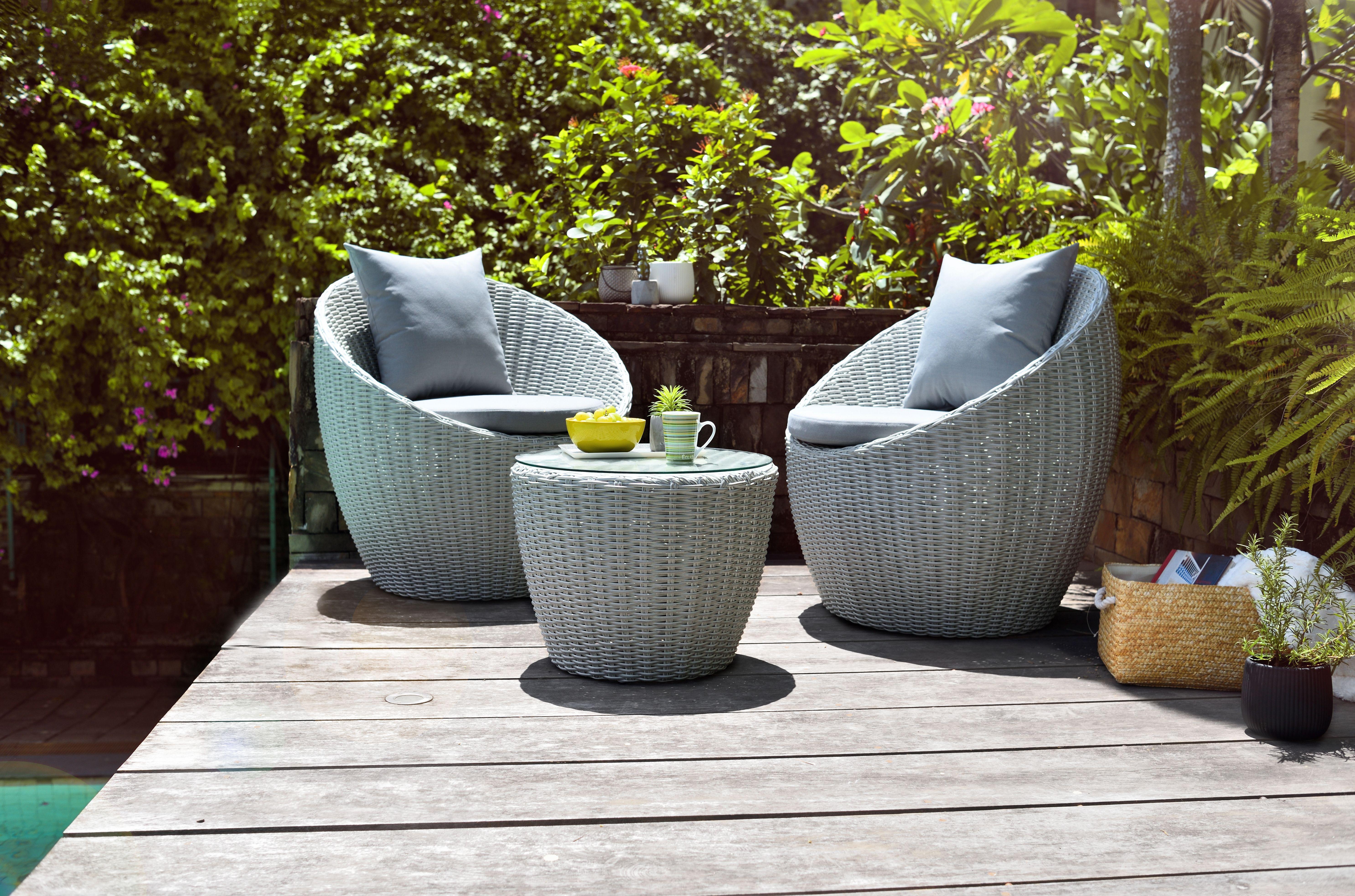 Pod Rattan Balcony Set Grey In 2020 Outdoor Garden Furniture Back Garden Design Small Garden Inspiration