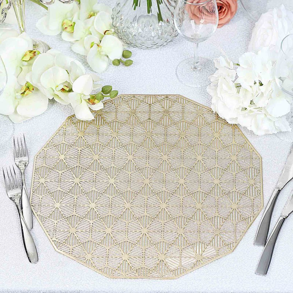 6 Pack 15 Gold Dodecagon Woven Vinyl Placemats Non Slip Dining Table Placemats In 2020 Dining Table Placemats Woven Placemats Lace Placemats