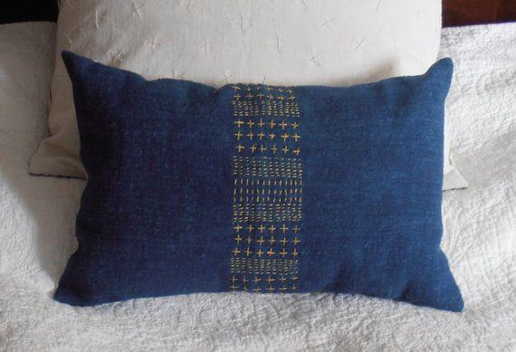 Indigo pillow blue hemp sashiko embroidered cushion by Octavi
