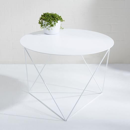 Eric Trine Octahedron Side Table White West Elm Next Haus - West elm white side table