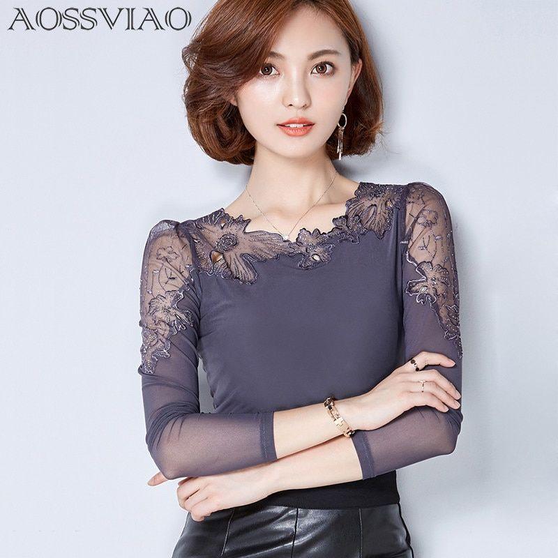 391dea94a Blusa de encaje de talla grande para mujer, blusa de chifón, blusas ...