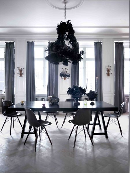 Stunning Dining Room With White Walls Black Furniture Charcoal Curtains An Elaborate Feather Entrance HallCurtainsBlack FurnitureLuxury