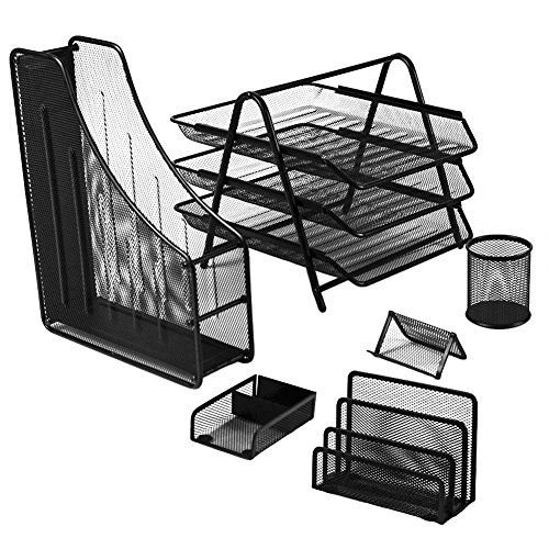 Yimu 6 Piece Mesh Wire Office Desk Collection Set 3 Tier File Tray