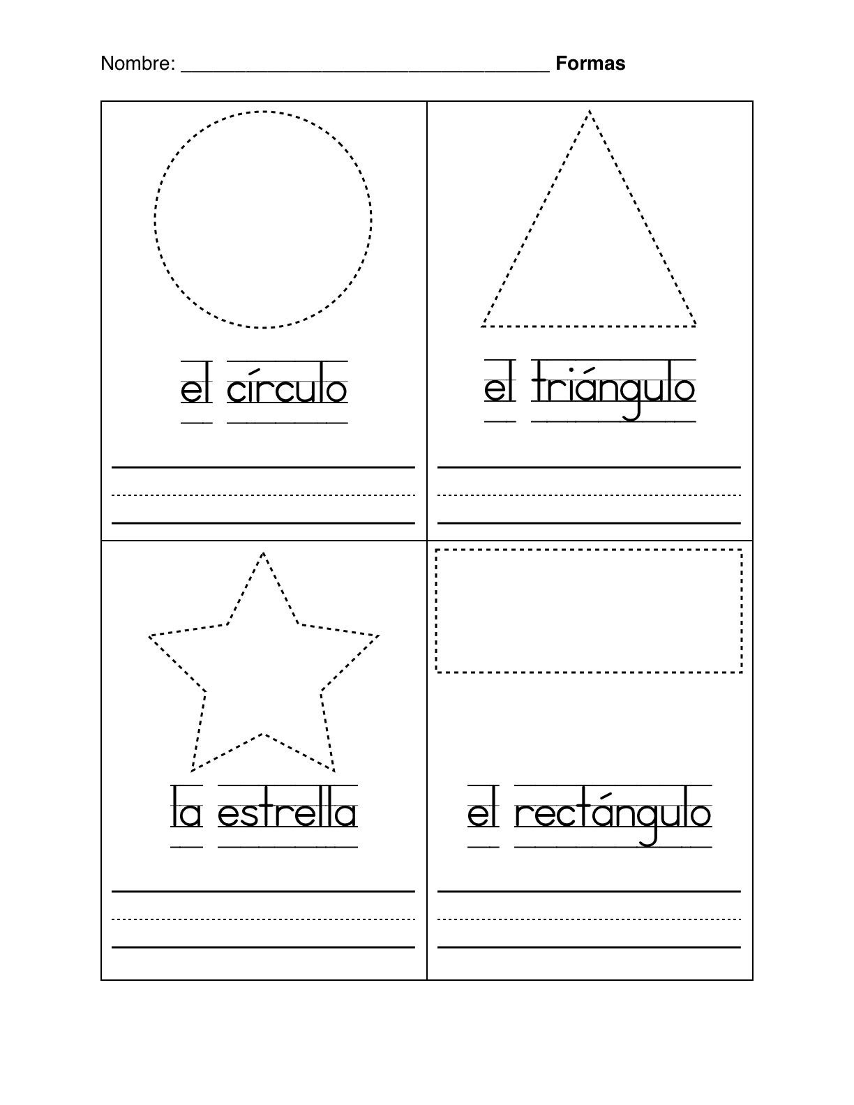 spanish worksheets for kindergarten basic shapes in. Black Bedroom Furniture Sets. Home Design Ideas