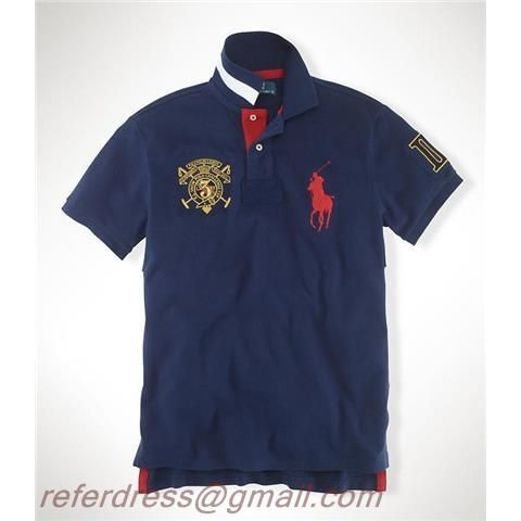 Cheap Polo Ralph Lauren Navy Short Shirts A Red Pony A Crown And Roman No.